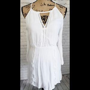 FATE WHITE BOHO CROCHET DETAIL DRESS